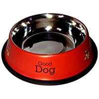 Paws For A Cause Printed Stainless Steel Anti Skid Dog Food Bowl Red -1600Ml