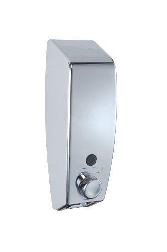 WENKO 18415100 Dispenser sapone Varese cromo,  0.45 L, Materiale plastico, 8.5 x 25 x 8 cm, Cromo