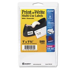 ** Print or Write Removable Multi-Use Labels, 1 x 1-1/2, White, 500/Pack **