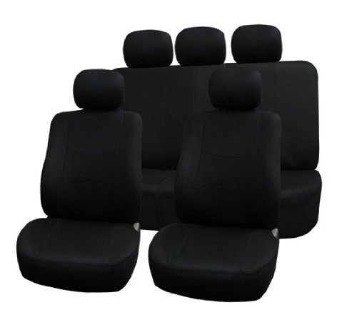 Fh-Fb051115 Multifunctional Flat Cloth Car Seat Covers, Airbag Compatible And Split Bench, Black Color front-163400