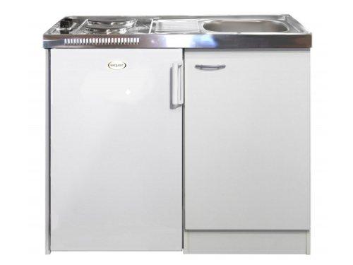 Pantryküche mit Kochplatten und Kühlschrank