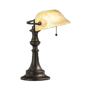 Kichler Lighting 70407 Clayton 14.5-Inch Portable Desk Lamp, Bronze with Beige Marble Swirl Glass