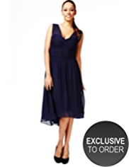 M&S Collection Sleeveless Ruched Bodice Chiffon Dress