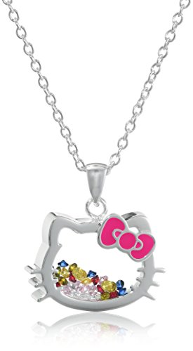 Hello-Kitty-Sanrio-Silver-Plated-Silhouette-Shaker-Pendant-Necklace-18-2-Extender