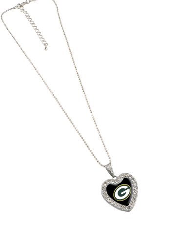 NFL Green Bay Packers Reversible Crystal Heart Pendant with 16