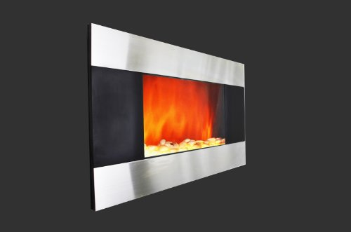 36 inch Wall Mount Stainless Panel Electric Fireplace Space Heater With Pebbles AX510DP