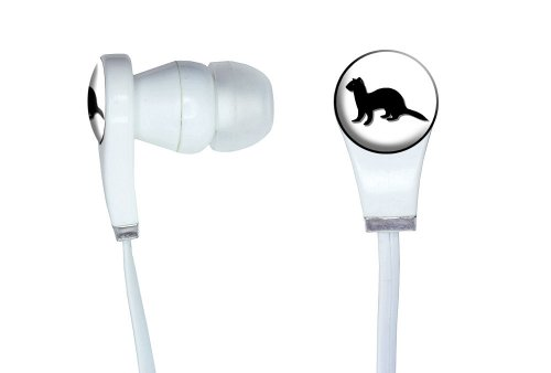 Graphics And More Ferret - Weasel Novelty In-Ear Headphones Earbuds - Non-Retail Packaging - White
