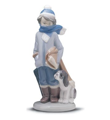 Lladro Lladro 01005220 5220 Winter Boy With Dog Invierno Infantil back-6134