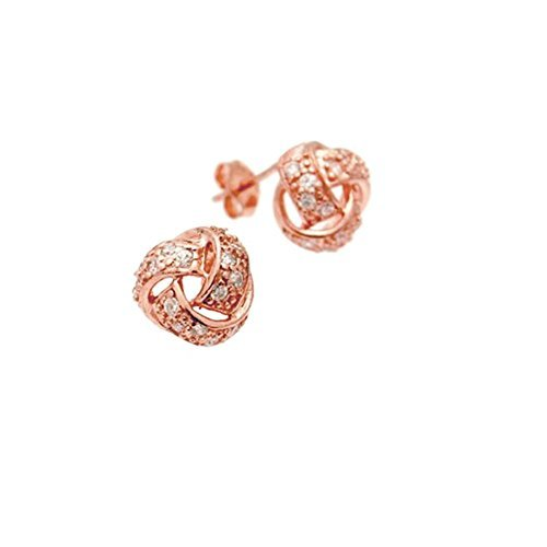 apop nyc Rose Goldtone Sterling Silver CZ Love Knot Earrings 10mm [Jewelry] by apop nyc