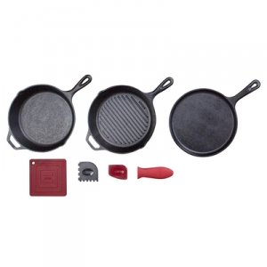 LODGE ESSENTIAL CAST IRON PAN SET (Lodge Grill Pan Enamel compare prices)