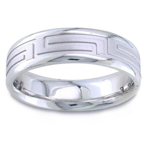 Women's 14k White Gold Greek Key Comfort-Fit Wedding Band (6.50 mm)