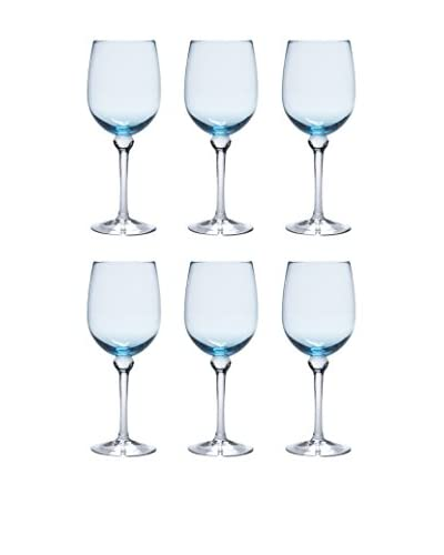 D&V Set of 6 Ariana Goblets, Aquamarine