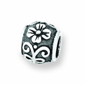 Sterling Silver Reflections SimStars Floral Bead Charm - JewelryWeb