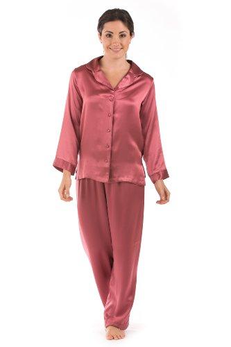 Womens Silk Pajamas Set Sleepwear - Morning Dew (Mulberry, Xs) - Cute Pajamas Clothes For Women; Pajamas Holiday Pjs Ws0001-Mul-Xs front-525259