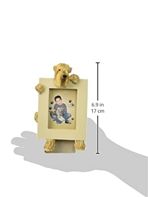 Wheaten Terrier Picture Frame Holds Your Favorite 2.5 by 3.5 Inch Photo, Hand Painted Realistic Looking Wheaten Terrier Stands 6 Inches Tall Holding Beautifully Crafted Frame, Unique and Special Wheaten Terrier Gifts for Wheaten Terrier Owners