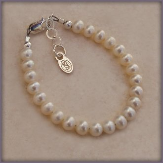 Beautiful Keepsake Sterling Silver Bracelet with Genuine Soft White Freshwater Pearls - A Gorgeous Classic. Your Child's First Pearls!