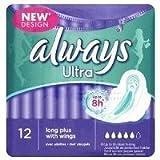 THREE PACKS of Always Ultra Towels Long Plus Wings (Super) x 12