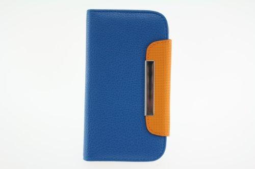 JAPAEMO Galaxy S4 (SC-04E) レザー調 フリップ型 カードケース付き ストラップホール付き マグネットタイプ 全4色 ドコモ ギャラクシーS4 ケース ブルー [JE00984]