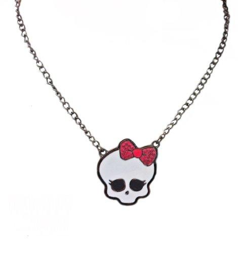 monster-high-bianco-collana-cranio-fiocco-rosa-tono-argento