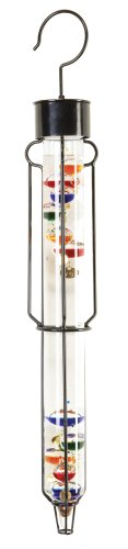 River City Clocks 25 Inch Outdoor Liquid Galileo Thermometer with Ten Multi-Color Floats and Gold Tags - Model # L38540G