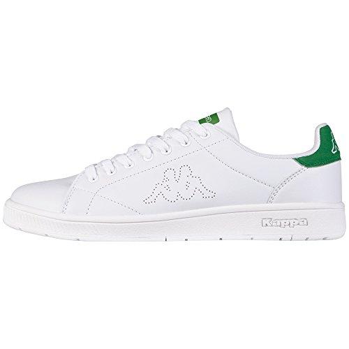 KappaCOURT Footwear unisex - Scarpe da Ginnastica Basse Unisex - Adulto , Bianco (Weiß (1030 WHITE/GREEN)), 42