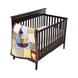 Tiddliwinks Noah's Ark 3pc Crib Bedding Set with Modern Zebra Pattern - 1