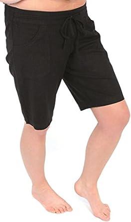 Tom Franks Ladies Linen Blend Mid Length Shorts Black 10