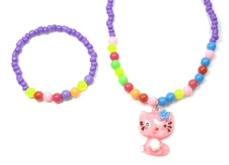 Multi Bead Pink Cat Pendant stretchable Necklace and Bracelet Set - Purple