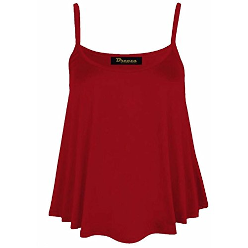 Ladies Cami Sleeveless Swing Vest Plain Womens Strappy Flared Plus Size Top 8-26[Wine ,20-22] steampunk buy now online