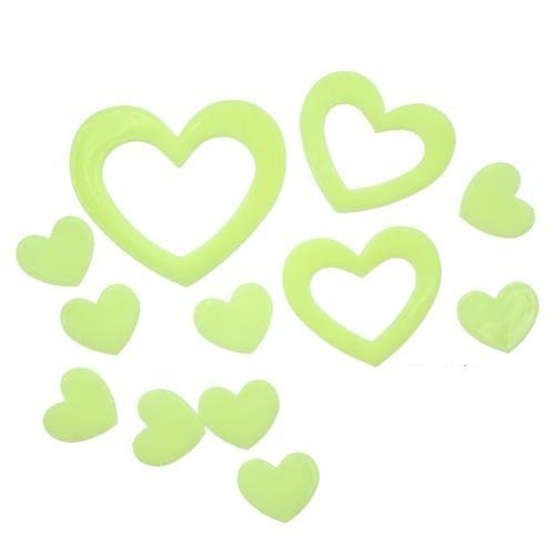 Niceeshop(Tm) Romantic Heart Luminous Stickers Bedroom Wall Decals Ceiling Paste (Green) front-698056