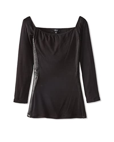 Sky Women's Leather Trim Top