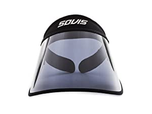 "SOVIS Black Full Size 5.5"" long - UV Facial Protection Sun Cap Solar Visor Hat Worldwide Patented"