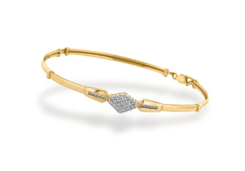 9ct Yellow Gold 0.29ct Diamond Cluster Bangle
