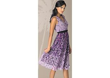 Misses Purple Sequin Border Dress