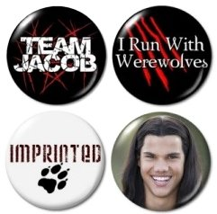 "Team Jacob Twilight Mini Buttons/pins/badges (Aprox 1"")"
