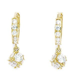 14ct Yellow Gold CZ Small Ball Drop Hinged Earrings - Measures 20x6mm