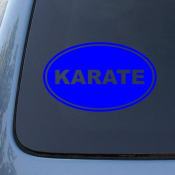 KARATE EURO OVAL - Martial Arts - Vinyl Car Decal Sticker #1723 | Vinyl Color: Blue