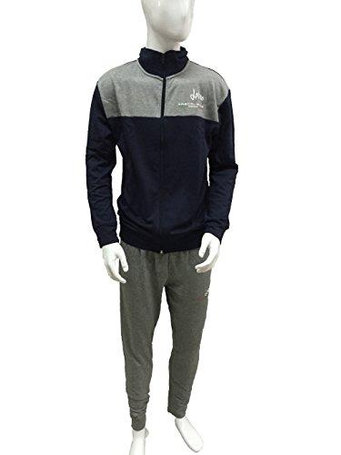 pigiama tuta uomo MASCALZONE LATINO felpata full zip con tasche art.0236 (TG.L, BLU)