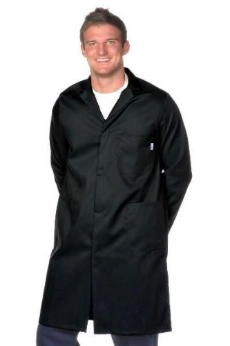 Yarmo Mens Poly/Cotton Lab Coat Black 36