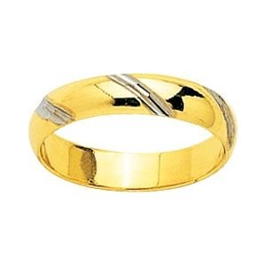 So Chic Jewels - 9k Yellow Gold Two-tone 4 mm Fantasy Pattern Wedding Band Ring