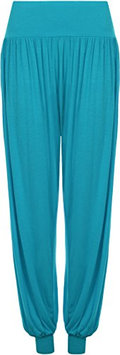 WearAll Women's Harem Pants - Turquoise - US 4-6 (UK 8-10) (Turquoise Pants compare prices)