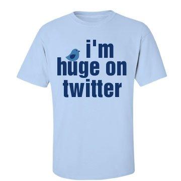 Huge On Twitter Text Tee: Custom Unisex Basic Gildan Ultra Cotton Crew Neck T-Shirt