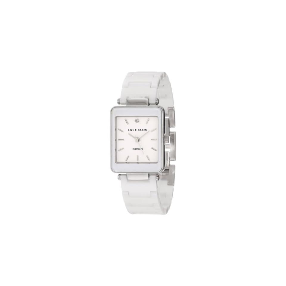 Anne Klein Womens AK/1021WTWT White Ceramic Diamond Accented Dial Silver Tone Watch