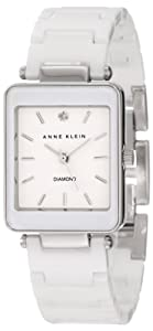 Anne Klein Women's AK/1021WTWT White Ceramic Diamond Accented Dial Silver-Tone Watch