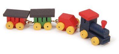 Miniature - Painted Wood Tiny Train - .75 inch - 1 set - 1