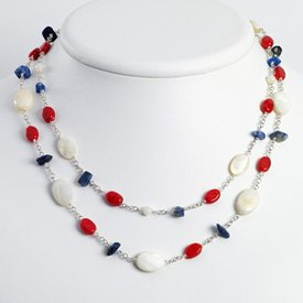 Sterling Silver Lapis/Mother of Pearl/Reconstructed Coral Necklace 16
