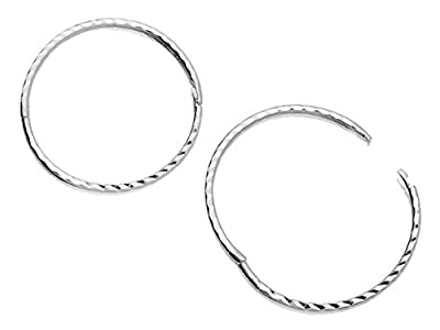 F.Hinds Womens Jewellery Jewelry Sterling Silver Diamond Cut Hinged Sleeper Hoop Earrings - 22mm