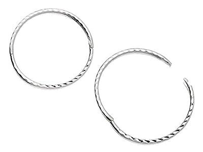 F.Hinds Womens Jewellery Jewelry Sterling Silver Diamond Cut Hinged Sleeper Hoop Earrings - 22mm