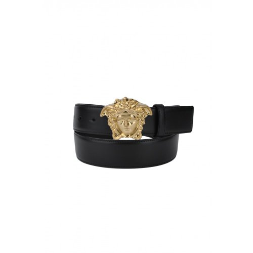 Versace Belt with Gold Medusa Head Buckle-Black-36inch/95cm