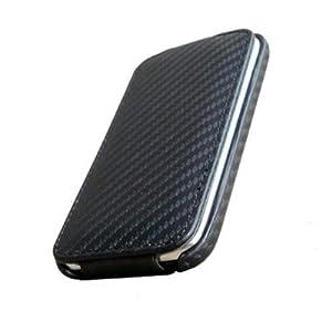 Housse etui aspect carbone pour Apple Iphone 3g 3gs - rabat integral Generique
